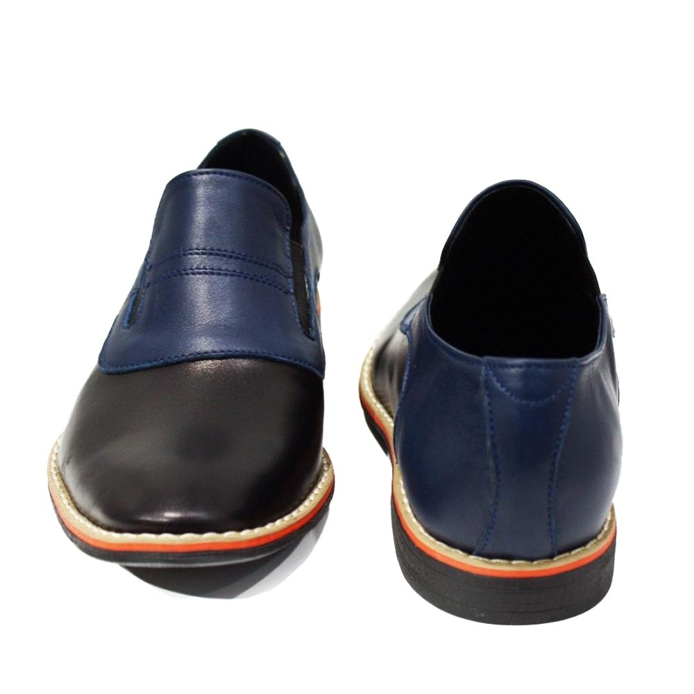 Details about Modello Lecco Handmade Italian Navy Blue Moccasins Loafers Cowhide Smooth Le