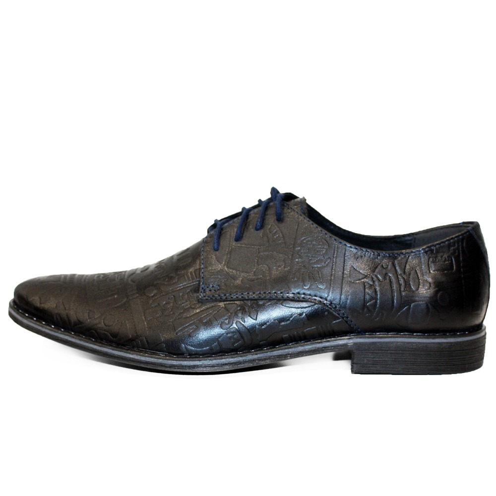 Modello Vobello Handmade Italian Mens Color Black Oxfords Dress Shoes Lace-Up Cowhide Embossed Leather