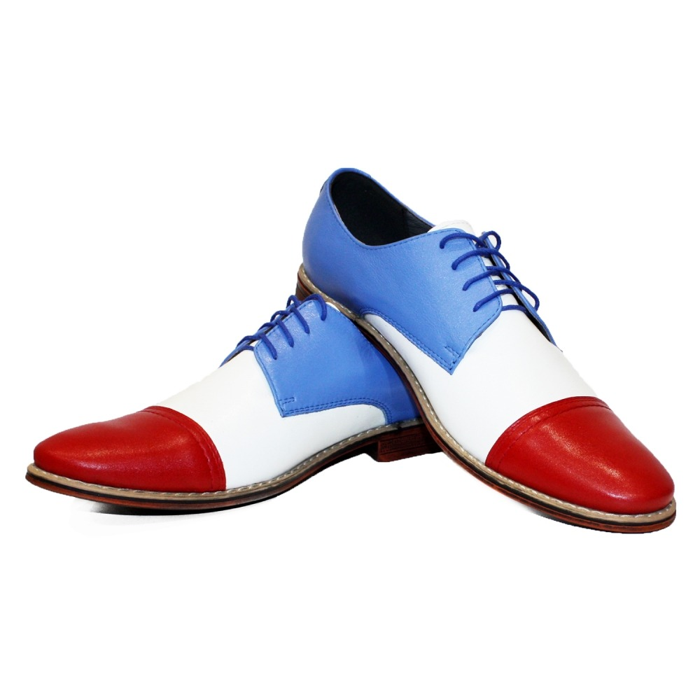 Modello Carpi Handmade Colorful Italian Leather Shoes Casual Trainers Blue Red