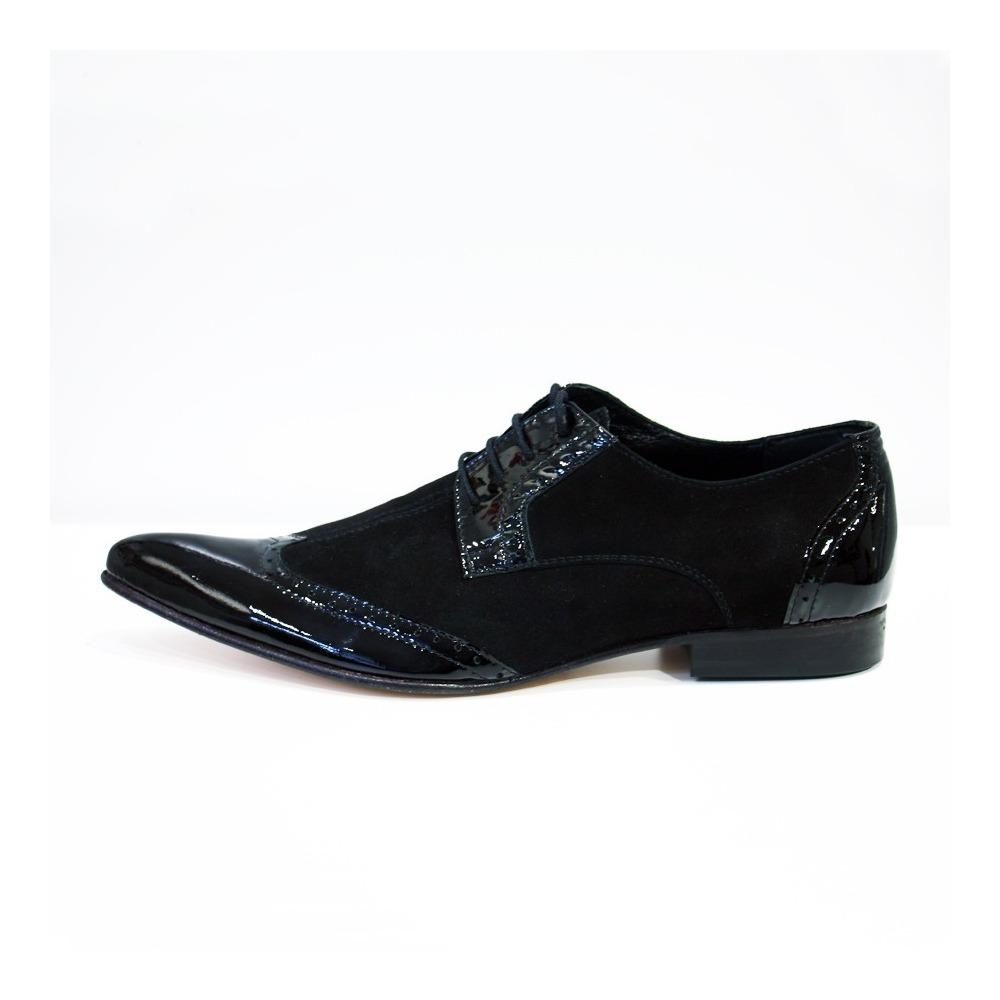 Modello  Martino - Handgemachtes Italienisch Schwarz Wing Tip Schuhe - Rindslede
